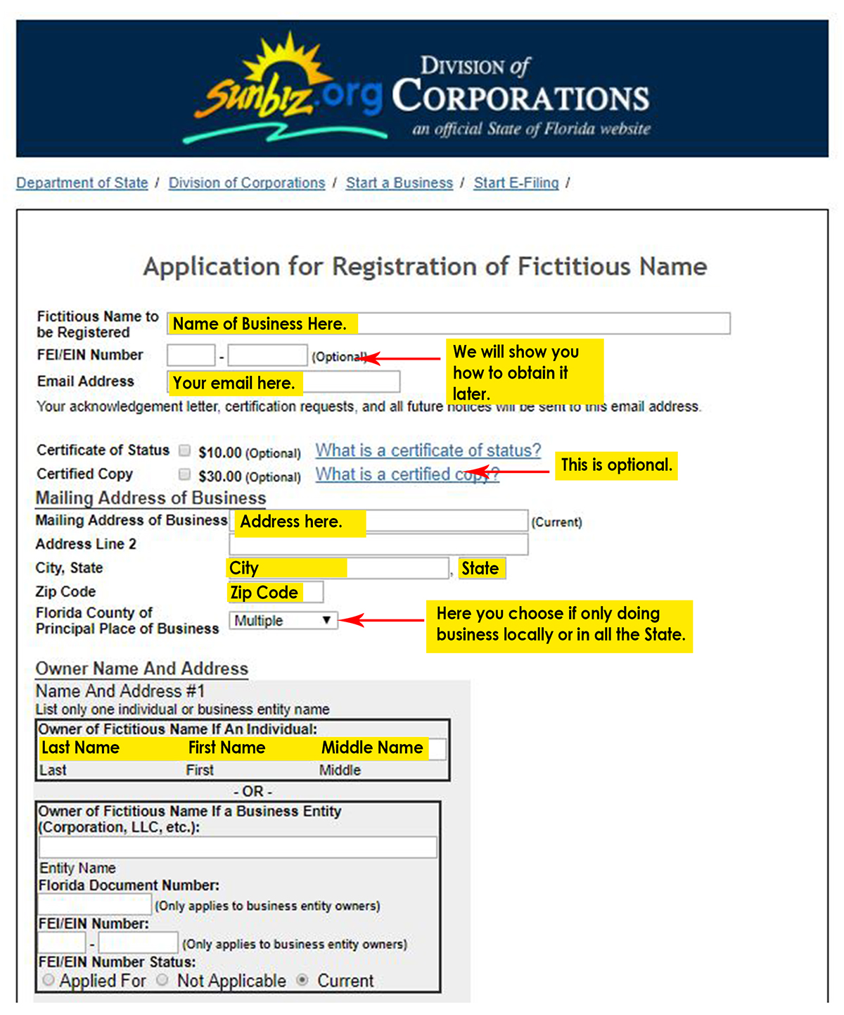 Application Of Registration For A Fictious Name Florida Shopping Guide